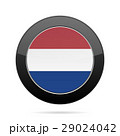 Flag of Netherlands. Shiny black round button. 29024042