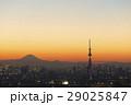 東京都市風景 富士山と東京スカイツリー 夕焼け トワイライト 29025847