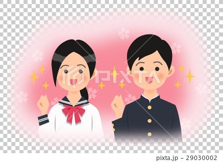 空を見上げる制服姿の中学生の男女(桜バック) 29030002