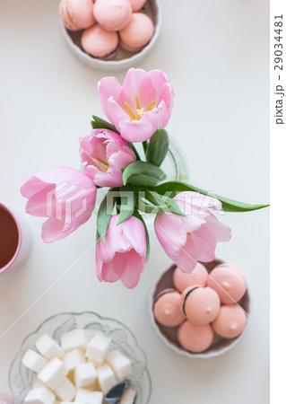 Spring background. Pink Macarons, lump sugar, aの写真素材 [29034481] - PIXTA