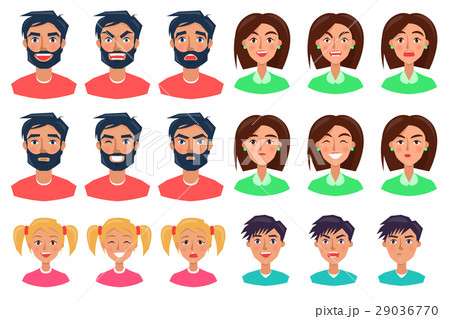 People Expressing Emotions Set of Icons on White 29036770