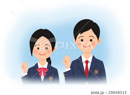 ガッツポーズをする制服姿の高校生の男女(青空バック) 29049315