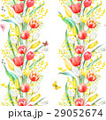 Watercolor mimosa and tulip vector pattern 29052674