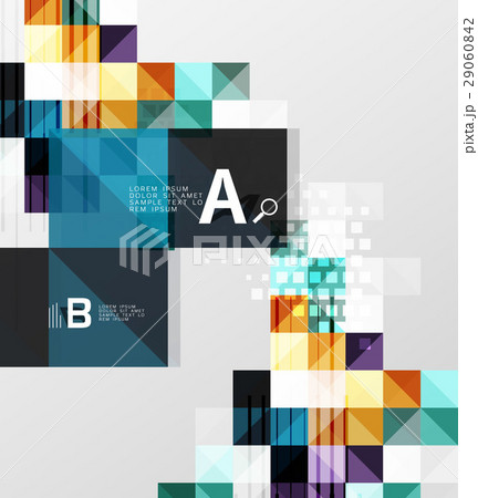 Vector square elements on gray abstract backgroundのイラスト素材 [29060842] - PIXTA