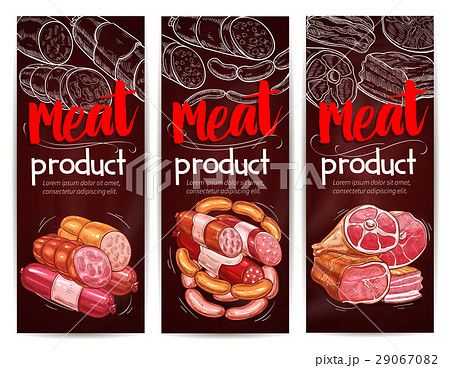 Butcher shop meat sausages vector banners 29067082