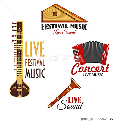 Musical instruments vector icons for music concert 29067135
