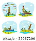 Fisher man fishing vector big fish catch 29067200