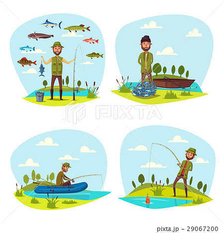 Fisher man fishing vector big fish catch 29067200