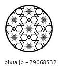 和柄、6枚花びら、六角形、北斎さくらワリ桜割りモチーフアレンジイラスト 29068532