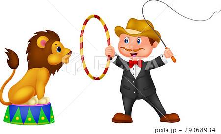 lion tamer with lionのイラスト素材 29068934 pixta