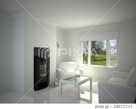 White livingroom.のイラスト素材 [29071715] - PIXTA