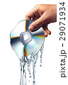 Man hand holding a compact disc whis is melting and morphing into water ripples. 29071934