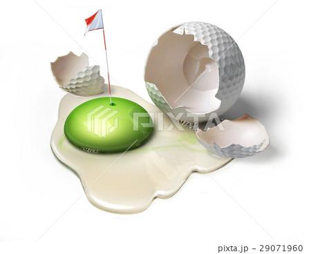 Golf ball as a broken egg with green yolk.のイラスト素材 [29071960] - PIXTA