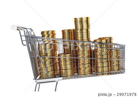 Supermarket trolley full of very big golden coins stacks. 29071978