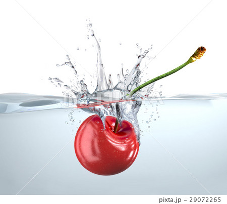 Red cherry falling into water and splashing. 29072265