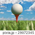 Golf ball isolated on tee in the grass. 29072345