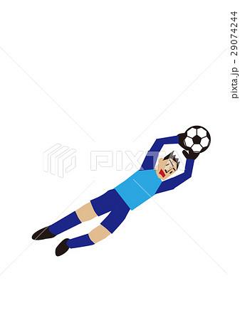 ダイビングキャッチするサッカー選手、ゴールキーパー、フットボール 29074244
