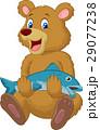 Cute bear holding salmon fish 29077238