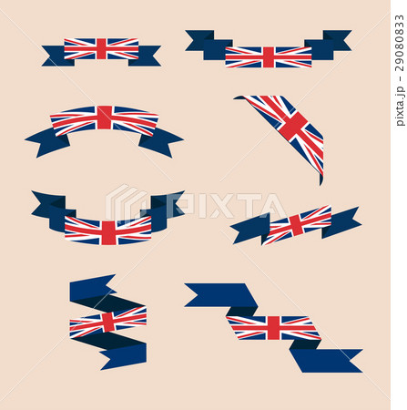 Ribbons or banners in colors of UK flagのイラスト素材 [29080833] - PIXTA