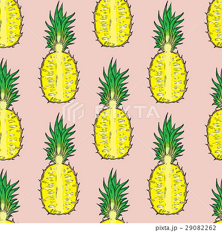 Pattern of cut pineapple. On a pink background.のイラスト素材 [29082262] - PIXTA
