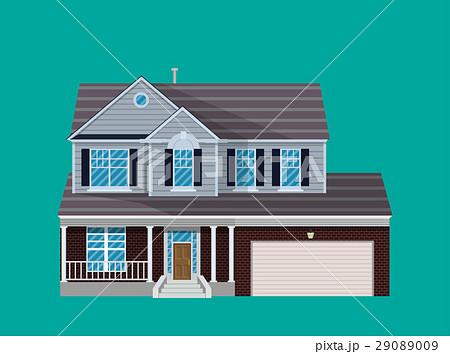 suburban family house with garage のイラスト素材 29089009 pixta