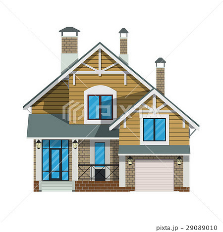 suburban family house with garage のイラスト素材 29089010 pixta