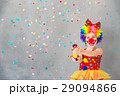 Funny kid clown playing indoor 29094866