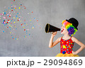 Funny kid clown playing indoor 29094869