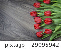 Red tulips on wooden background with space for 29095942