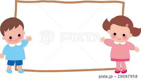幼稚園児フレーム 笑顔のイラスト素材 29097958 Pixta