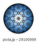 ブルー系、和柄、六角、花びら、星、北斎さくらワリ桜割りモチーフアレンジイラスト 29100999