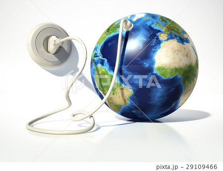 planet earth with electric cable plug and socket source maps
