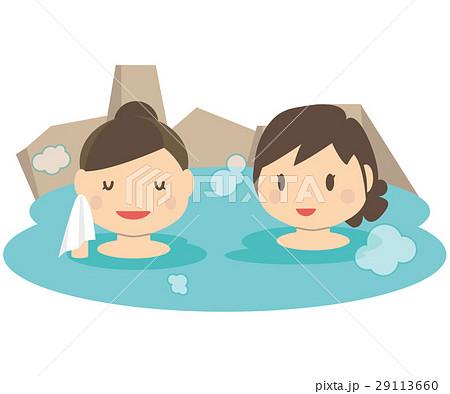 かわいい女性 2人旅 温泉 露天風呂のイラスト素材 29113660 Pixta
