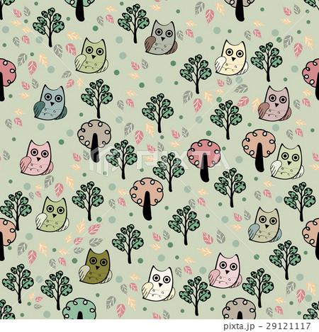 Owls forest vector seamless patternのイラスト素材 [29121117] - PIXTA