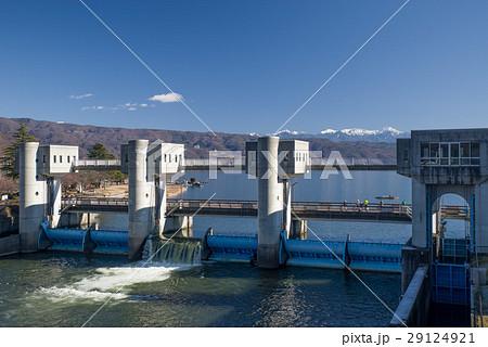 諏訪湖の釜口水門の写真素材 [29...
