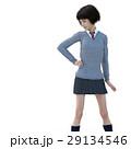 ポーズする制服の女子学生 perming 3DCG イラスト素材 29134546