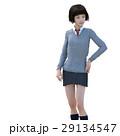 ポーズする制服の女子学生 perming 3DCG イラスト素材 29134547