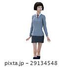 ポーズする制服の女子学生 perming 3DCG イラスト素材 29134548