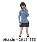 ポーズする制服の女子学生 perming 3DCG イラスト素材 29134553