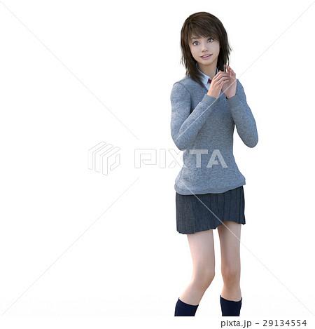 ポーズする制服の女子学生 perming 3DCG イラスト素材 29134554