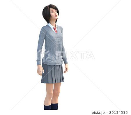 ポーズする制服の女子学生 perming 3DCG イラスト素材 29134556