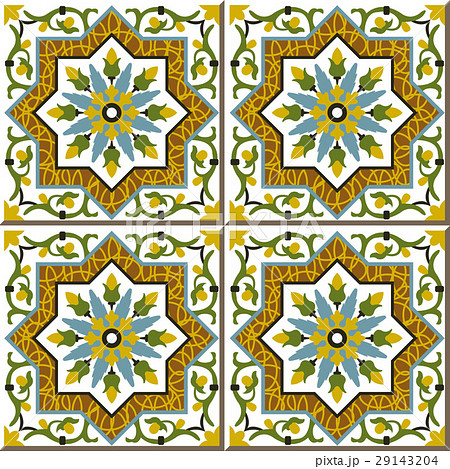 Ceramic tile botanic spiral vine flower starのイラスト素材 [29143204] - PIXTA