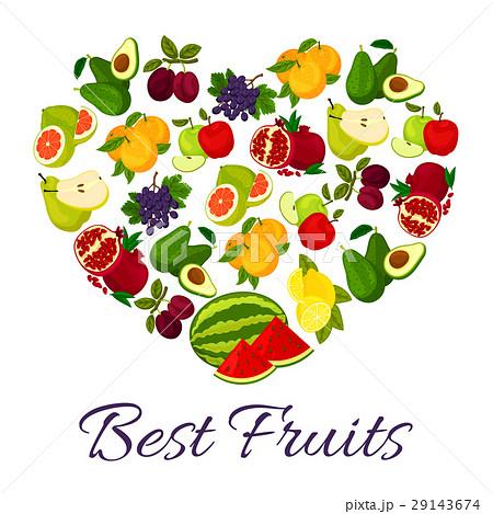 fresh juicy fruits in heart symbolのイラスト素材 29143674 pixta
