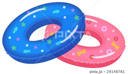 浮き輪青ピンクのイラスト素材 29148781 Pixta