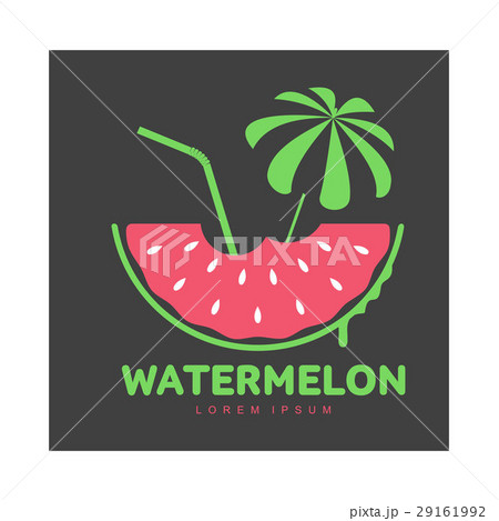 logo template with watermelon beach umbrella andのイラスト素材