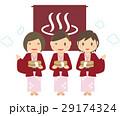 かわいい女子3人旅行 風呂桶を持って浴衣で温泉 29174324