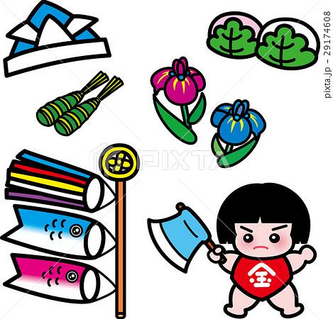 五月・端午の節句セット・金太郎・鯉のぼり・兜・菖蒲・かしわ餅・ちまき 29174608