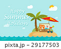 Happy summer holidays text on paradise sand island 29177503