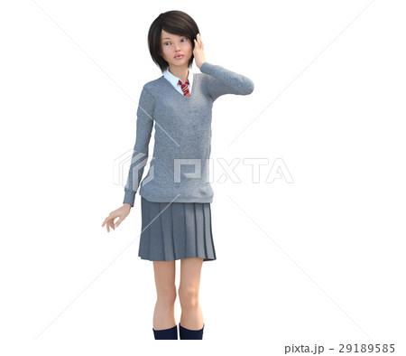 ポーズする制服の女子学生 perming 3DCG イラスト素材 29189585