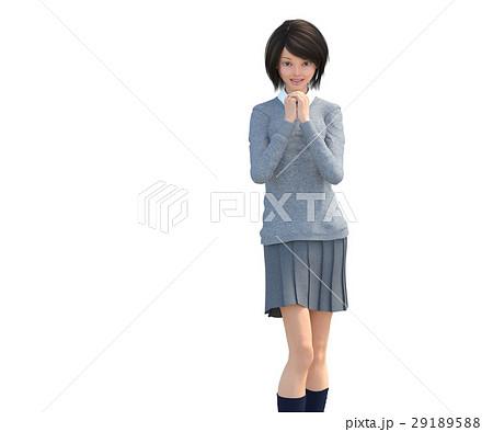 ポーズする制服の女子学生 perming 3DCG イラスト素材 29189588